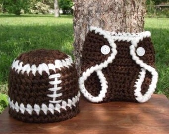 Crochet Football Hat and Diaper Cover