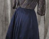 Vintage 1960s Dress Navy Blue Metallic Brocade with Egyptian Motiff Size Small