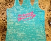 Go Sweat Yourself blue burnout racer back tank