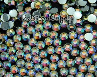 2mm SS6 1000 Pieces Clear AB Resin Flatback Rhinestones 14 Facets for Nail Art