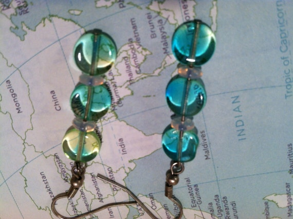 Iridescent Glass Dangle Earrings