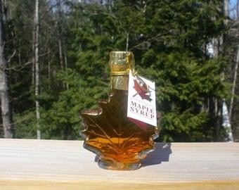 Glass Maple Leaf 100ml of Adirondack Maple Syrup