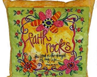 Inspirational Saying Pillow Faith Rocks