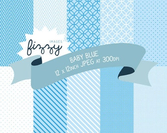 10 x Digital Papers in Baby Blue Patterns for Personal and Commercial Use with Instant Download. MPS0001