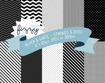 10 x  Digital Paper Backgrounds in Black and White Patterns with Instant Download. MPS0002