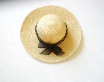 Sun Hat -Women's Wide Brim - Black bow- Beach- Pool hat