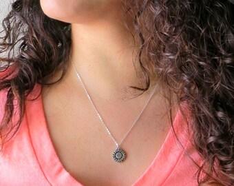 Silver Sunflower Necklace, Sunflower Jewelry, Sunflower Charm, Silver Flower Necklace, Flower Necklace Bridesmaid