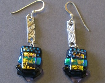 "Earrings--""Chinese Writing""-----pure silver, pmc, dichroic glass"