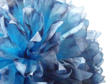 Pacific Blue Ombre Pom / Blue Tissue Paper Pom /  Blue Wedding Decorations /  Blue Party Decorations / Baby Boy Shower / Baby Boy Nursery