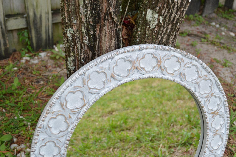Large round shabby chic decorative grey white mirror large for Large white decorative mirror
