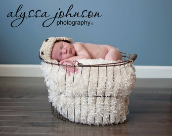 Crocheted Aviator Bomber Hat and Photo Prop Boy