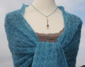 Knit shawl, knit wrap, mohair shawl, bridal wrap, bridal shawl, wedding wrap,turquoise, lace