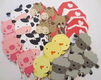 24 Barnyard or Farm Themed Cupcake Toppers