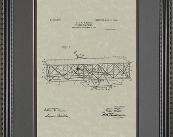 Wright Brothers Original Patent Art for Airplane W1393