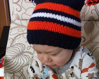 Hand knit Team hat for baby