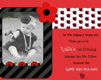 Ladybug Invitation Birthday Party Baby Shower Digital DIY