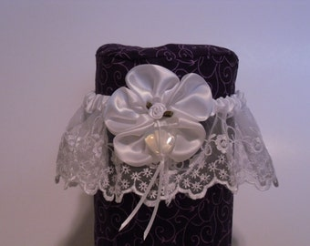 Opalite/moonstone heart garter with white satin flower and white lace
