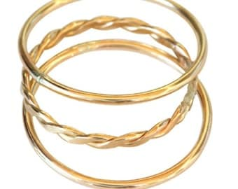 14k Gold Filled Multi Stacked toe rings