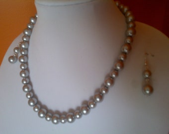 Handcrafted Silver glass pearl necklace and earring set