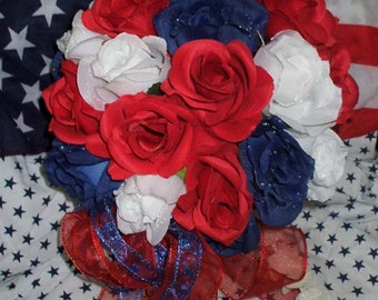 Red White and Blue, Wedding Bouquet, Roses and Ribbon, All American