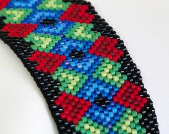 Peyote Bracelet - Seed Bead Bracelet - Folk Art Hearts - Beadwoven Bracelet in Black, Red, Green, Blue Delicas - Seed Bead Jewelry