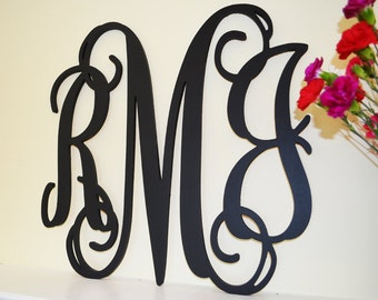 24'' Nursery Decor, Wooden Monogram, Wall Art, Large Wood monogram, Wedding Decor - Unpainted Wood Monogram - Wooden Wall Hanging