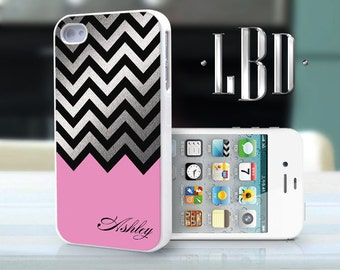 iPhone 4 4s Case - Custom Chevron Pink with Silver Personalized  iP4