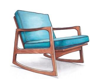Mid Century Modern Danish Teak Chair Drawing, Aqua Blue - 8x10