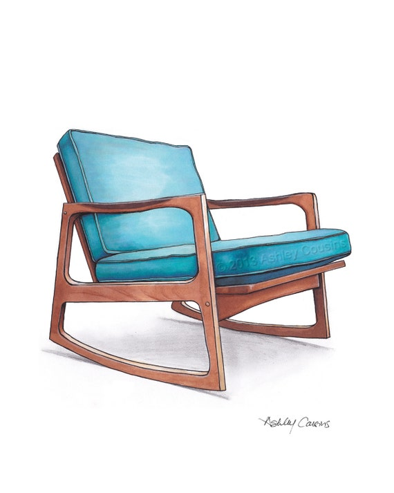 mid century modern danish teak chair drawing by