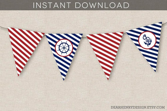 Nautical banner instant download printable nautical birthday nautical banner instant download printable nautical birthday party banner nautical anchor banner bunting banner flags red white blue pronofoot35fo Choice Image