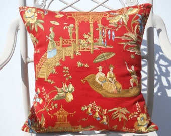 Red Asian/Oriental Pillow Cover, Modern Red Chinese Pillow, 18''x18'' Decorative Japanese Pillow, Stylish Pillow Cover, Red/Yellow/Green