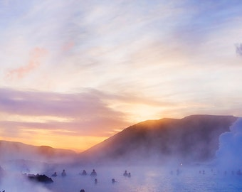 "Blue Lagoon at Sunrise, Iceland. 10""x20"" Fine Art Landscape Photography by Roy Hsu"