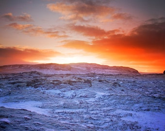 Winter Mountain Against Sunset in Iceland. Fine Art Photography by Roy Hsu