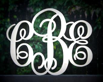 """Monogram Wood Initials 24"""" Width Script Font"""