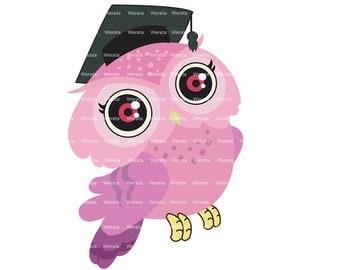 Owl graduation Clipart Clip Art, graduation owl, education Clipart Clip Art, owl graduation invitations - Personal and Commercial Use