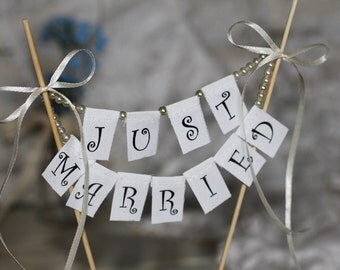 Just Married Wedding Cake Topper Banner with pearls and bows