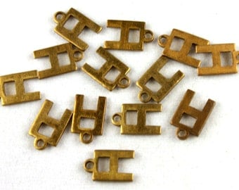 12x Vintage Brass Initial Charms - M030-H