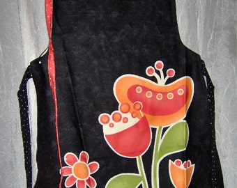 SALE Apron Pop Art flowers fruit on black