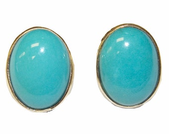Estate 18K Gold Turquoise Earrings