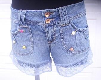 Lace Denim Shorts, Upcycled Shorts, Indie Clothing, OOAK Jean Shorts, Gypsy Blue Jean Shorts, Flower Shorts, Mid Rise Shorts, Size 3