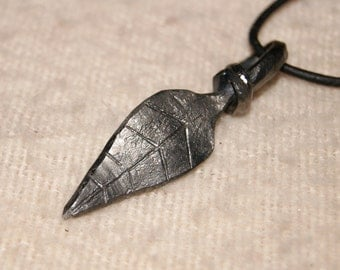 Hand forged leaf pendant
