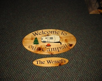 Welcome to our Campsite-Large Oval with personalized small oval hanging under