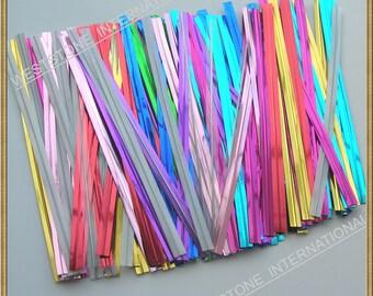 """150pcs 4"""" (15 colors) Metallic Twist Tie for cake pop lollipop Candy Cello Bags"""