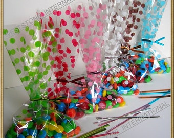 "150pcs 5""x8"" Polka Dot gift bag and twist ties for wedding birthday party"