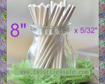 "100pcs 8"" x 5/32"" Paper  Lollipop Sticks for Cake Pops"