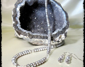 Silver-gray Freshwater Pearls and Sterling Silver Necklace with Swarovski Crystals