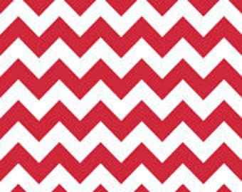 Last Yard CLEARANCE 1 Yard Riley Blake Red Medium Chevron Fabric