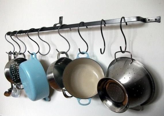 Long wall mounted pot rack by ArrowsmithForge on Etsy
