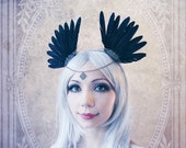 "Headdress ""Crow"" (Gothic, feathers, hairband)"
