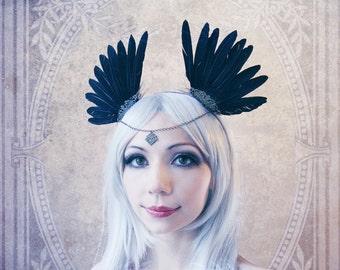 "Headdress ""Crow"" (Gothic, feathers, hairband)"